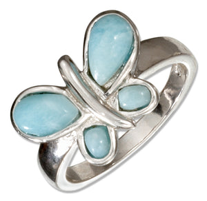 Sterling Silver Larimar Butterfly Ring