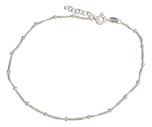 Sterling Silver 9 inch to 10 inch Adjustable 035 Curb Chain Anklet with Beads