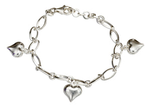 Sterling Silver 7 inch to 8 inch Adjustable Italian Charm Bracelet with Puffed Hearts