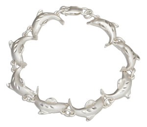 Sterling Silver 7 inch Jumping Dolphin Link Bracelet