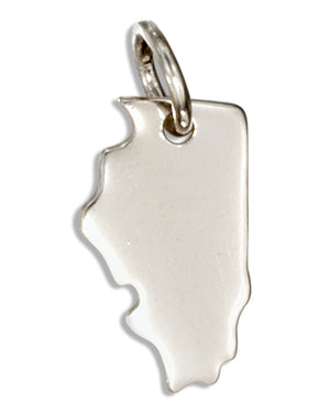 Sterling Silver Illinois State Silhouette Charm