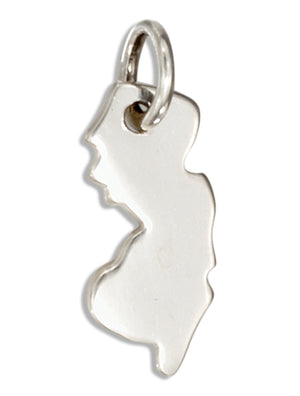 Sterling Silver New Jersey State Silhouette Charm