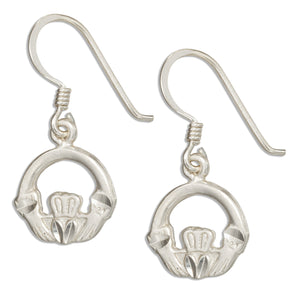 Sterling Silver Diamond Cut Claddagh Earrings