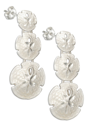 Sterling Silver Diamond Cut Triple Sand Dollars Earrings