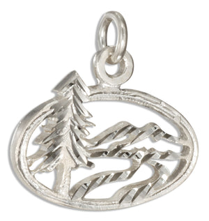 Sterling Silver Mountain Forest Scene Charm