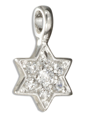 Sterling Silver Pave Set Cubic Zirconia Star Of David Pendant