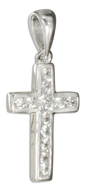 Sterling Silver Pave Set Cubic Zirconia Cross Pendant
