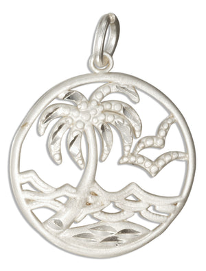Sterling Silver Diamond Cut Tropical Ocean View Charm