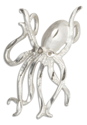 Sterling Silver Diamond Cut Octopus Pendant