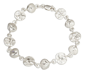 Sterling Silver 7.5 inch Diamond Cut Seashell Link Bracelet