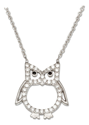 Sterling Silver 16 inch to 18 inch Adjustable Micro Pave Cubic Zirconia Owl Necklace