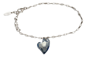 Sterling Silver 7 inch to 8 inch Adjustable Smoky Blue Swarovski Crystal Heart Bracelet