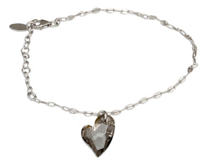 Sterling Silver 7 inch to 8 inch Adjustable Smoky Swarovski Crystal Heart Bracelet