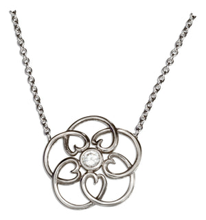 Sterling Silver 16 inch to 18 inch Adjustable Open Flower Necklace with Cubic Zirconia