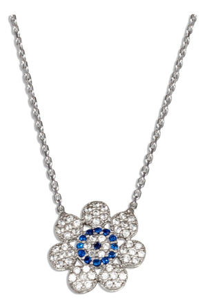 Sterling Silver 16 inch to 18 inch Adjustable Micro Pave Clear and Blue Cubic Zirconia Flower Necklace