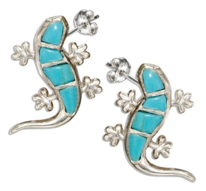 Sterling Silver Simulated Turquoise Gecko Earrings