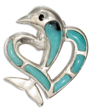 Sterling Silver Simulated Turquoise Heart with Dolphin Pendant