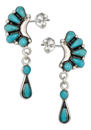 Sterling Silver Multi Stone Simulated Turquoise Crescent Earrings with Dangles
