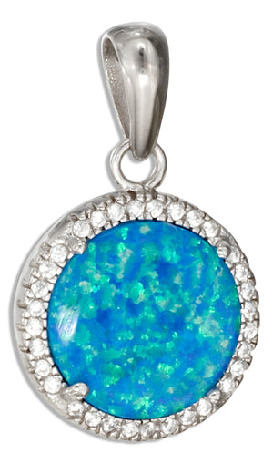 Sterling Silver 15mm Round Synthetic Blue Opal Pendant with Micro Pave Cubic Zirconia Halo