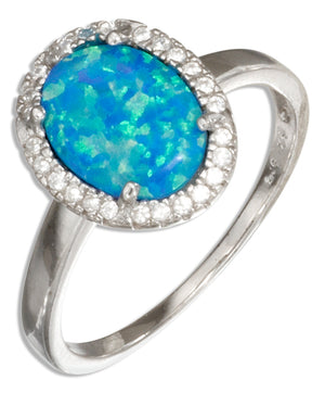 Sterling Silver Oval Synthetic Blue Opal Ring with Micro Pave Cubic Zirconia Halo