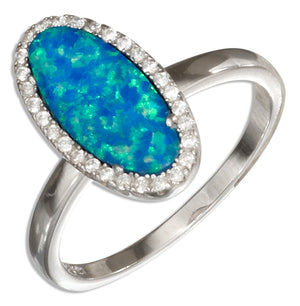 Sterling Silver Elongated Oval Synthetic Blue Opal Ring with Micro Pave Cubic Zirconia Halo