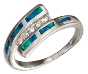 Sterling Silver Synthetic Blue Opal Bypass Ring with Micro Pave Cubic Zirconia Center