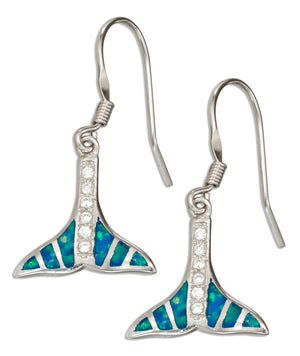 Sterling Silver Micro Pave Cubic Zirconia and Synthetic Blue Opal Whale Tail Earrings