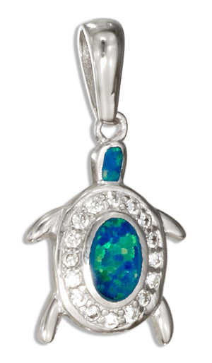Sterling Silver Micro Pave Cubic Zirconia and Synthetic Blue Opal Turtle Pendant