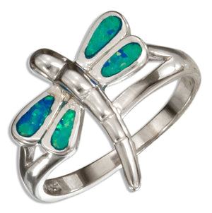 Sterling Silver Synthetic Blue Opal Dragonfly Ring