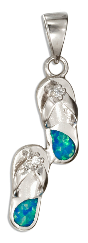 Sterling Silver Synthetic Blue Opal Flip Flops Pendant with Cubic Zirconia Accent