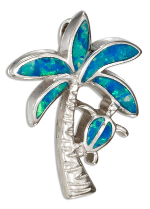 Sterling Silver Synthetic Blue Opal Palm Tree Pendant with Turtle
