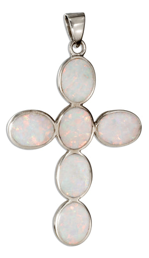 Sterling Silver Synthetic White Opal Oval Stones Cross Pendant