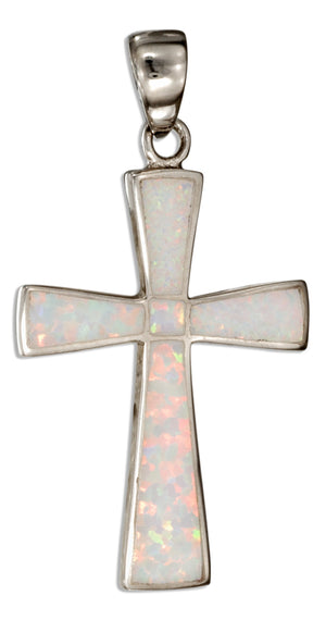 Sterling Silver Synthetic White Opal Cross Pendant