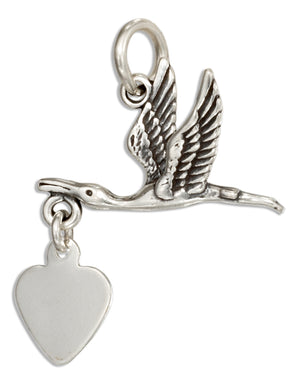 Sterling Silver Stork Charm with Dangling Heart