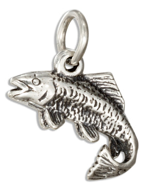 Sterling Silver 3D Antiqued Salmon Fish Charm