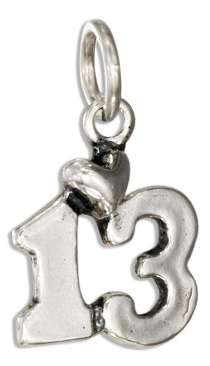 "Sterling Silver Number ""13"" Bar Mitzvah Charm with Heart"
