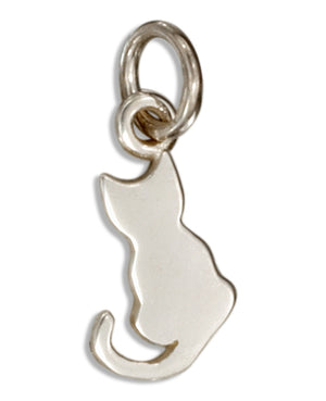 Sterling Silver Mini Silhouette Sitting Cat Charm