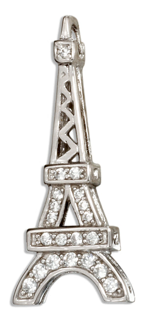 Sterling Silver Eiffel Tower Pendant with Pave Cubic Zirconias