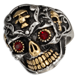 Stainless Steel Sugar Skull Ring with Gold Color Accents and Cubic Zirconia Eyes