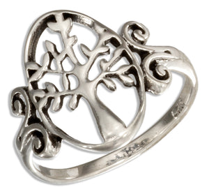 Sterling Silver Oval Tree Of Life Ring