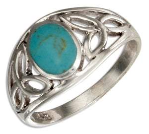 Sterling Silver Celtic Trinity Knots Band Ring with Simulated Turquoise
