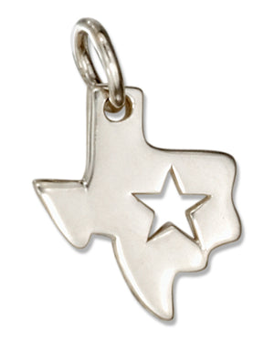 Sterling Silver Texas State Silhouette Charm with Star Cut Out
