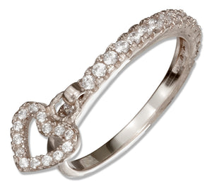 Sterling Silver Micro Pave Cubic Zirconia Heart Charm Ring