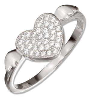 Sterling Silver Micro Pave Cubic Zirconia Heart with Wings Ring