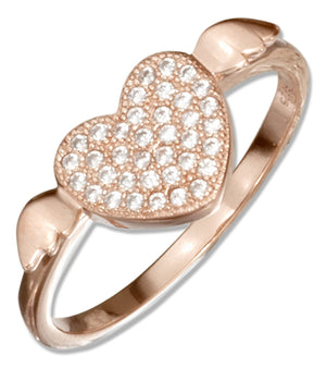 Sterling Silver Rose Colored Micro Pave Cubic Zirconia Heart with Wings Ring