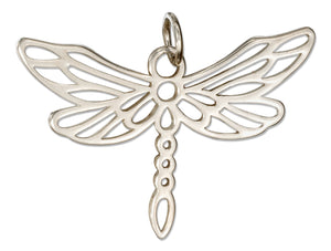 Sterling Silver Outline Dragonfly Charm