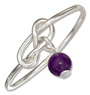 Sterling Silver Wire Infinity Double Love Knot Ring with Amethyst Bead