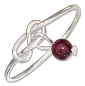 Sterling Silver Wire Infinity Double Love Knot Ring with Garnet Bead