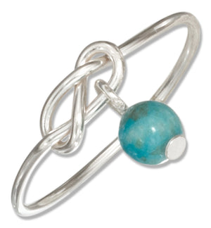 Sterling Silver Wire Infinity Double Love Knot Ring with Blue Riverstone Bead