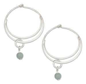 Sterling Silver Medium Flat Bottom Double Hoop Earrings with Amazonite Bead Dangle